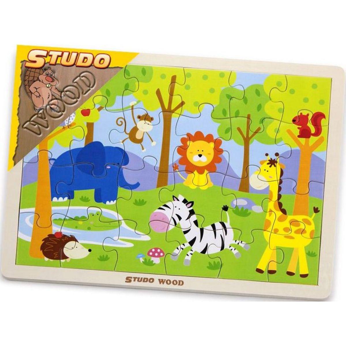 Studo Wood Dřevěné Puzzle safari 24 ks