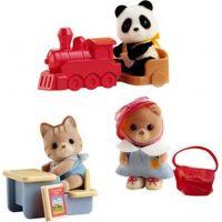 Sylvanian Families Baby příslušenství - panda, méďa a veverka si hrají doma - Méďa 3