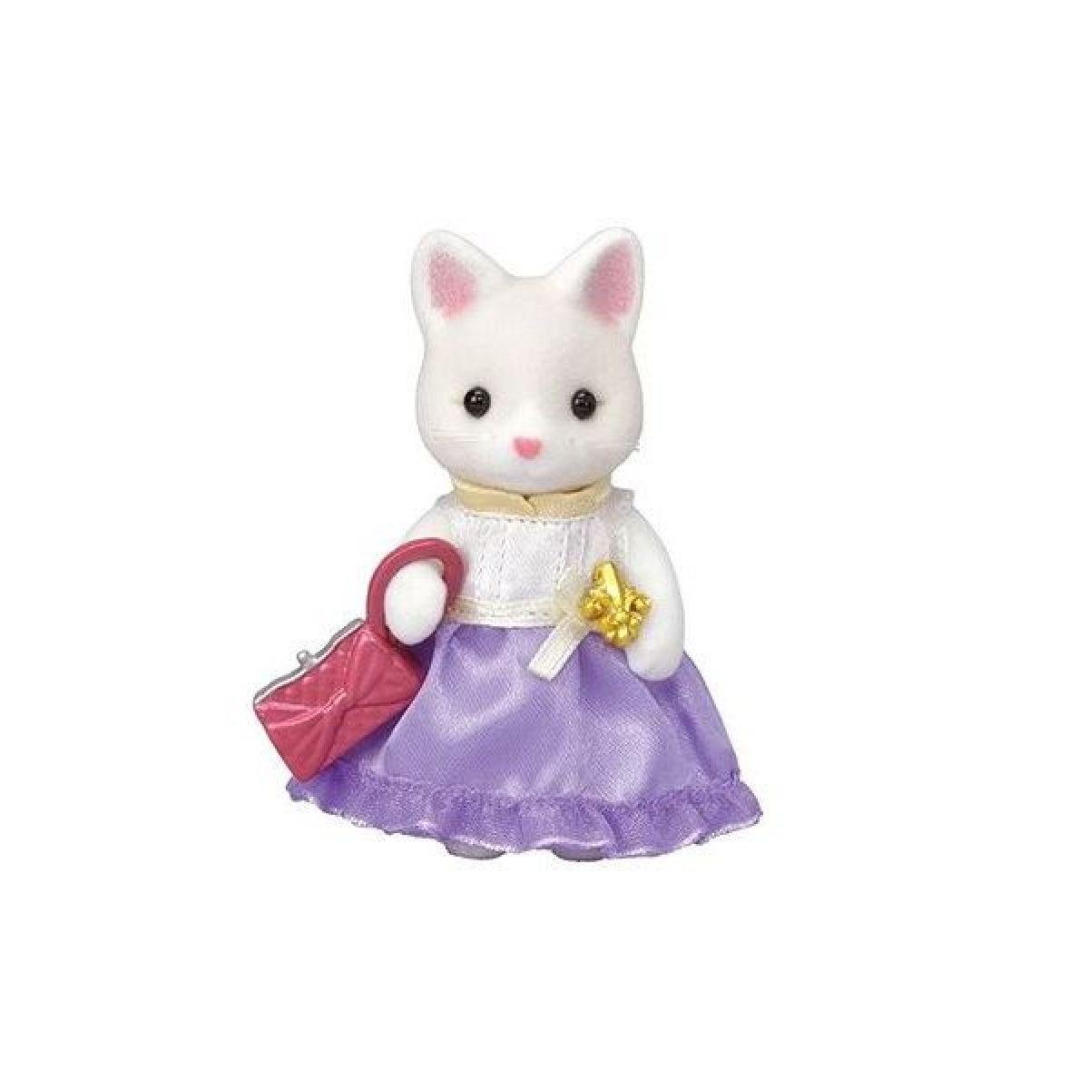 Sylvanian Families Město hedvábná kočka ve fialových šatech s kabelkou