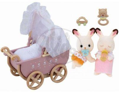 """Sylvanian families Nábytek """"chocolate"""" králíků - dvojče v kočárku"""