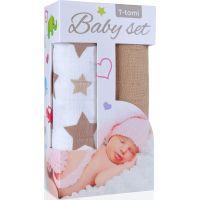 T-tomi Baby set Bambusová BIO osuška béžové hvězdičky a Bambusová osuška béžová