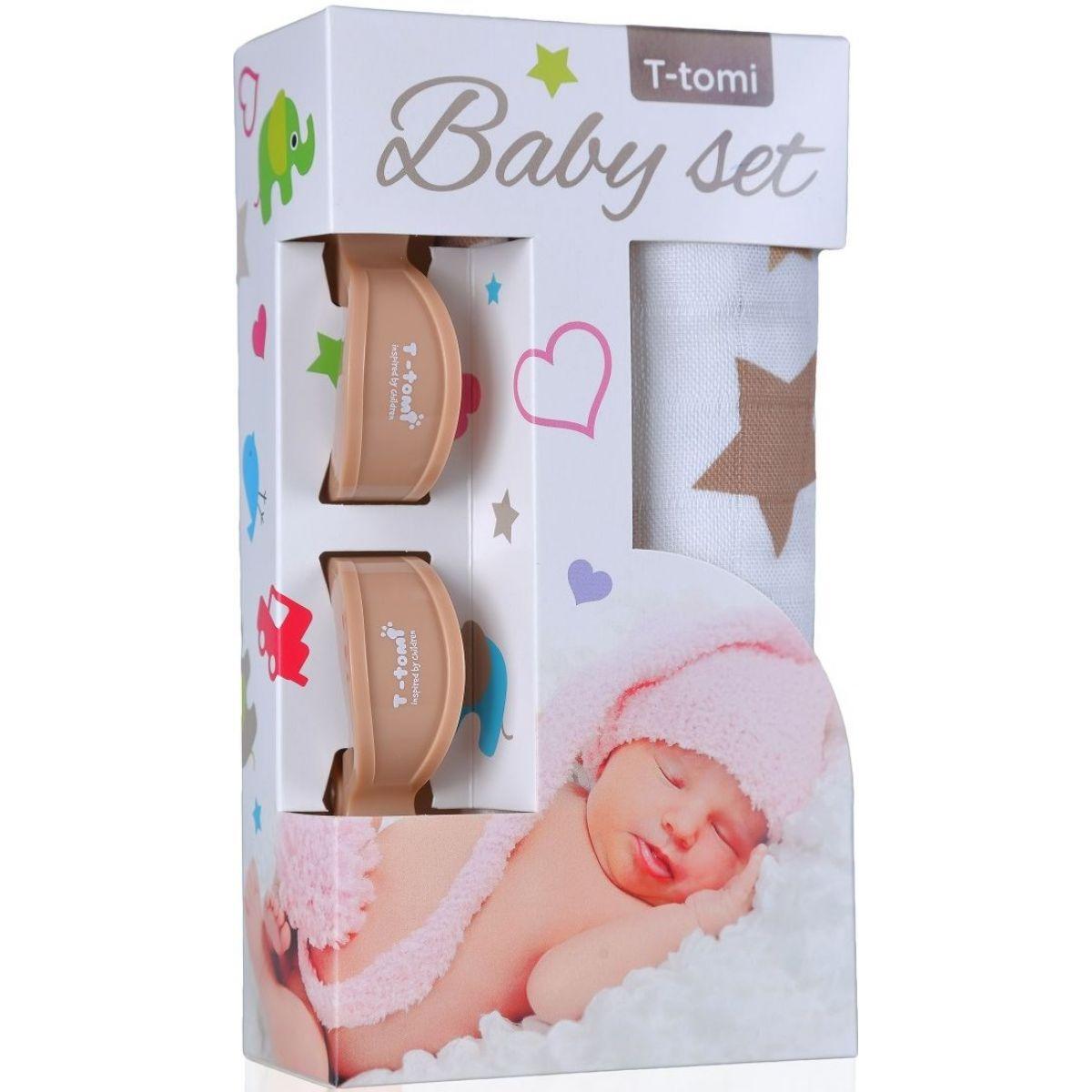 T-tomi Baby set Bambusová BIO osuška béžové hvězdičky a kočárkový kolíček béžový