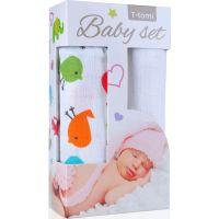 T-tomi Baby set Bambusová BIO osuška ptáčci a Bambusová osuška bílá