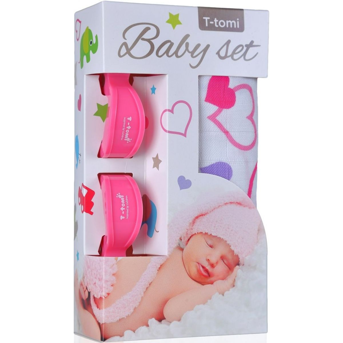 T-tomi Baby set Bambusová BIO osuška srdíčka a kočárkový kolíček růžový