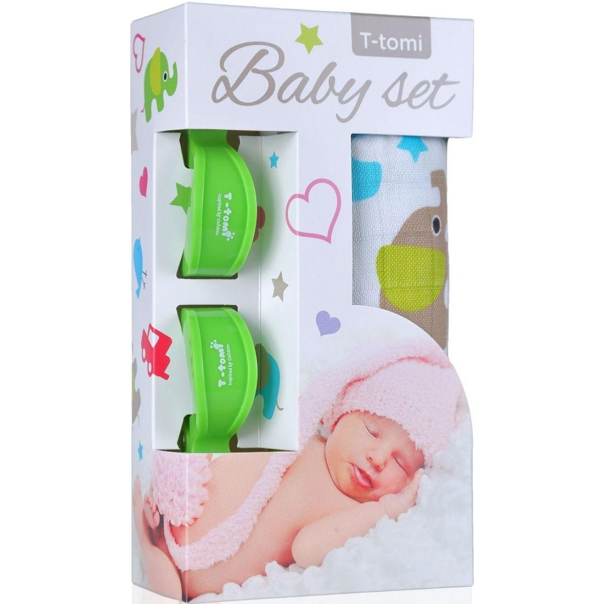 T-tomi Baby set Bambusová BIO osuška zelení sloni a kočárkový kolíček zelený