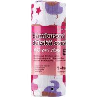 T-tomi Bambusová osuška 1 ks Růžoví sloni