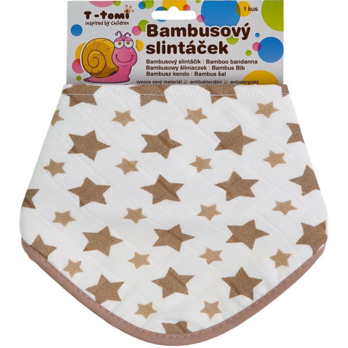 T-tomi Bambusový BIO slintáček 1 ks Béžové hvězdičky