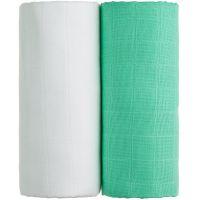T-tomi Látkové TETRA osušky, sada 2 ks, bílá + zelená