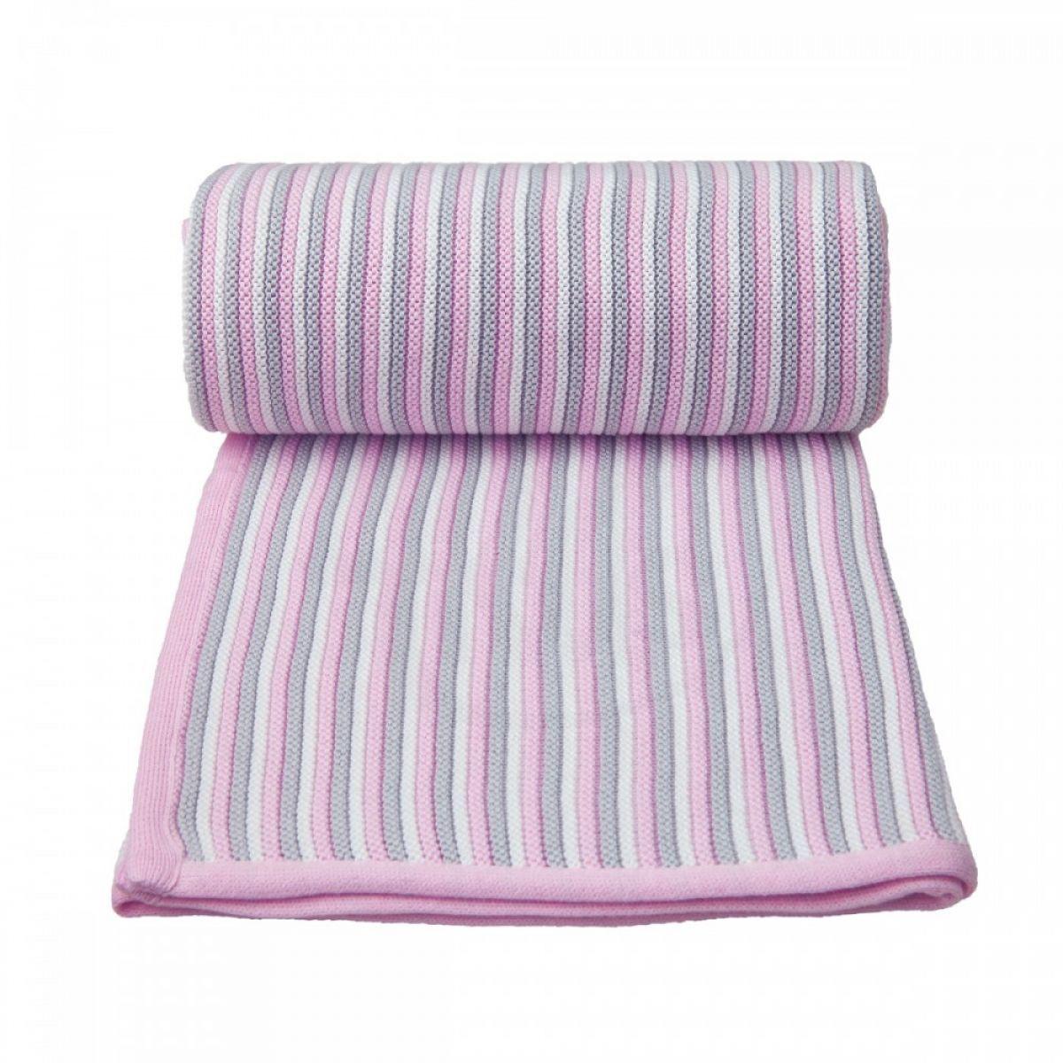 T-tomi Pletená deka, bílo - růžová