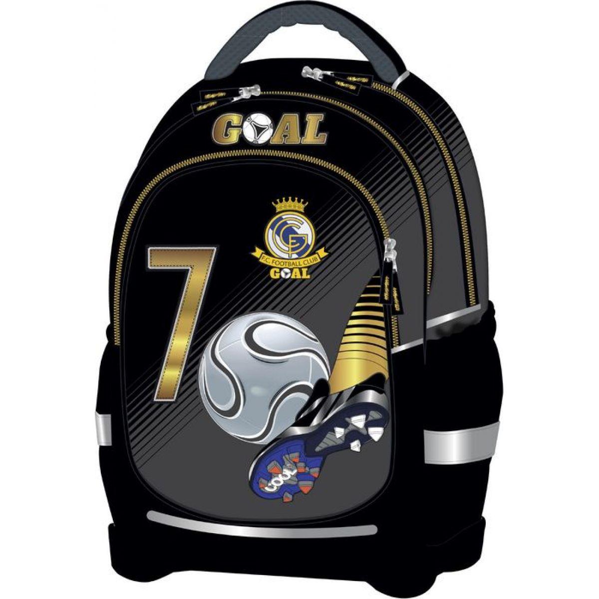 Target Batoh dětský Fotbal Černý podklad šedozlatý motiv super lehký