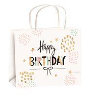 Anděl Taška narozeninová zlatá ražba M horizont 23 x 18 x 10 cm Happy Birthday