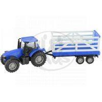 Teamsterz Traktor s valníkem - Modrý traktor s valníkem