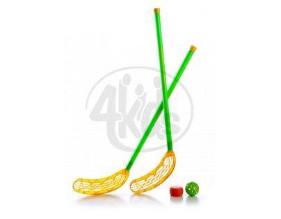 Hokejka florbalová plast 80cm 2ks + puk a míček