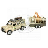 MIKRO 521723 - Auto Land Rover Defender kov 13cm s přívěsem a žirafou na zpětné natažení v krabičce