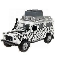 Kids GLOBE 510753 - Auto Land Rover Safari kov na zpětné natažení se zvuky a světly