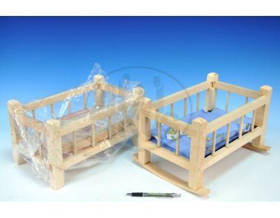 Teddies 56770009 - Kolébka dřevo 33,5x19x21cm + polštář + peřinka + podložka