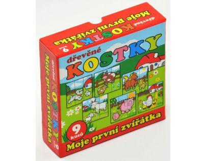 Teddies 00512012 - Kostky kubus Moje první zvířátka 9ks dřevěné