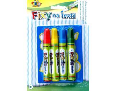Teddies 22900960 - Fixy na textil, 4ks + šablona na kartě