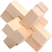 Hlavolam dřevo 7 cm Kříž