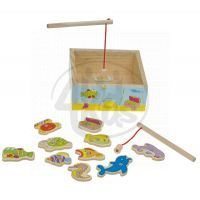 Teddies 00025471  -  Hra ryby/rybář - dřevo akvárium, 15x15x6cm - magnetické asst 2 druhy v krabičce