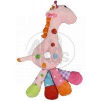 Žirafa chrastítko plyš 25 cm - Růžová
