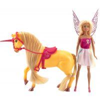 Teddies Jednorožec kůň česací se sedlem a s panenkou vílou