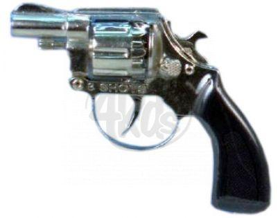 Teddies GG3908-S-8001BNS - Pistole - Kapslovka s tlumičem kov 16cm 8 ran
