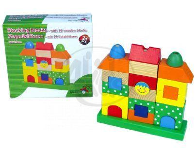 Teddies 31045 - Kostky na stojánku domeček 22x20cm 22ks v krabici od 12 měsíců