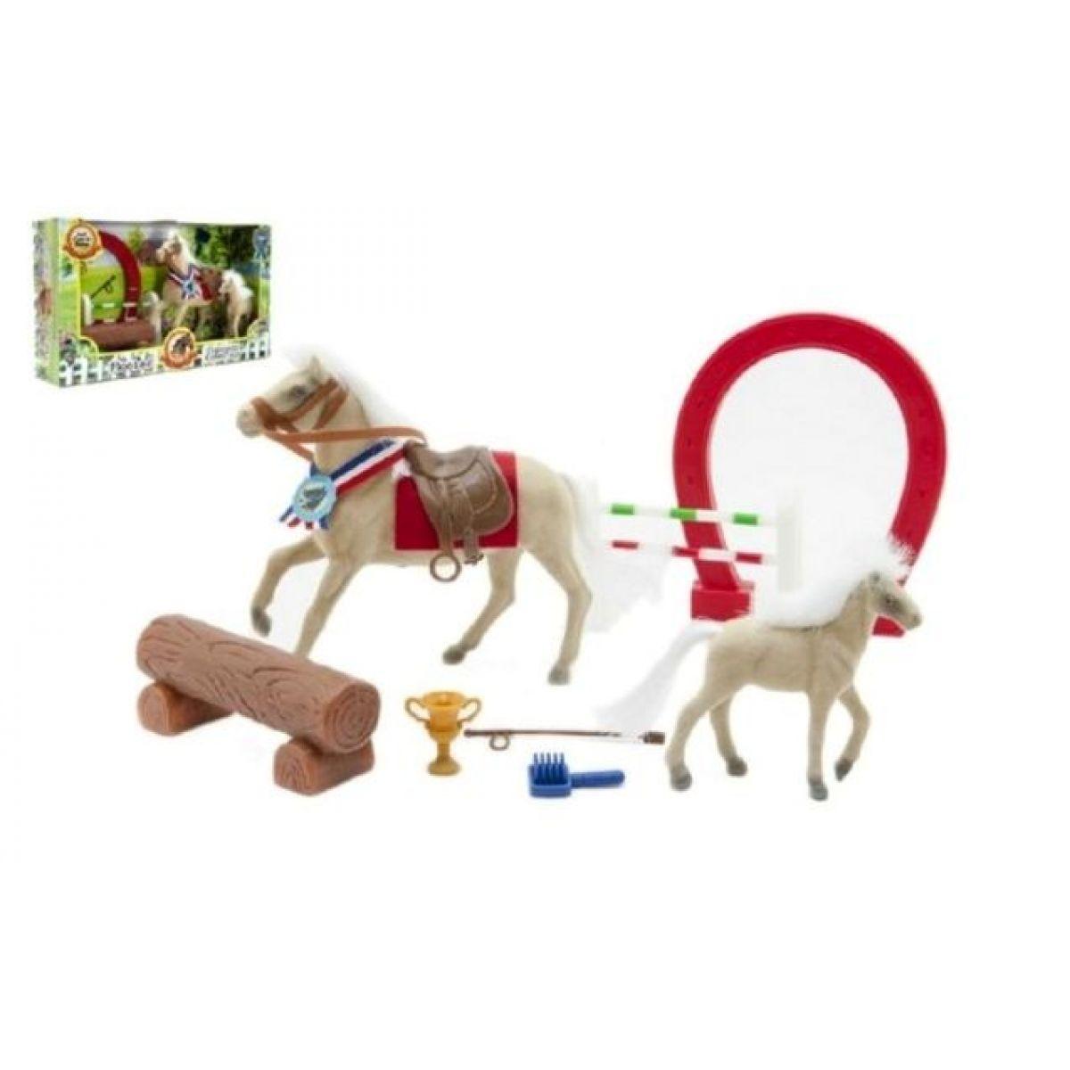 Teddies Kůň fliška s hříbětem a doplňky v krabici 36x21x8 cm
