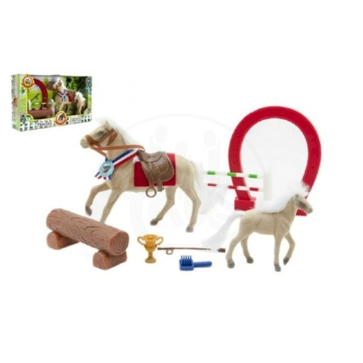 Kůň fliška s hříbětem a doplňky
