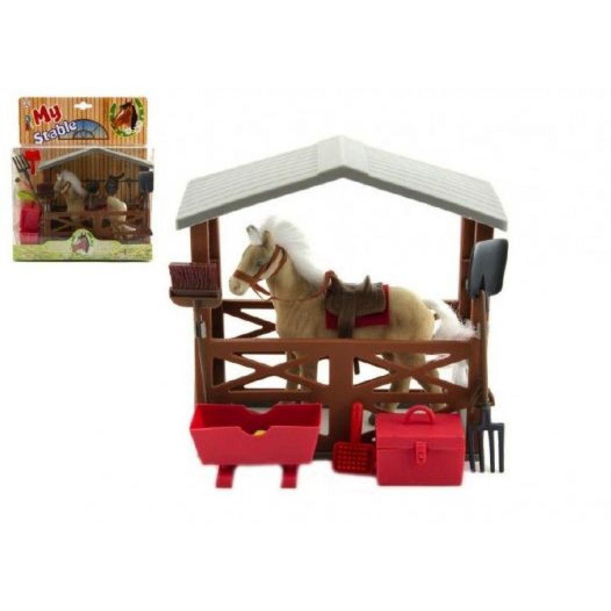 Teddies Kůň fliška se stájí a doplňky plast v krabici 23x27x9 cm