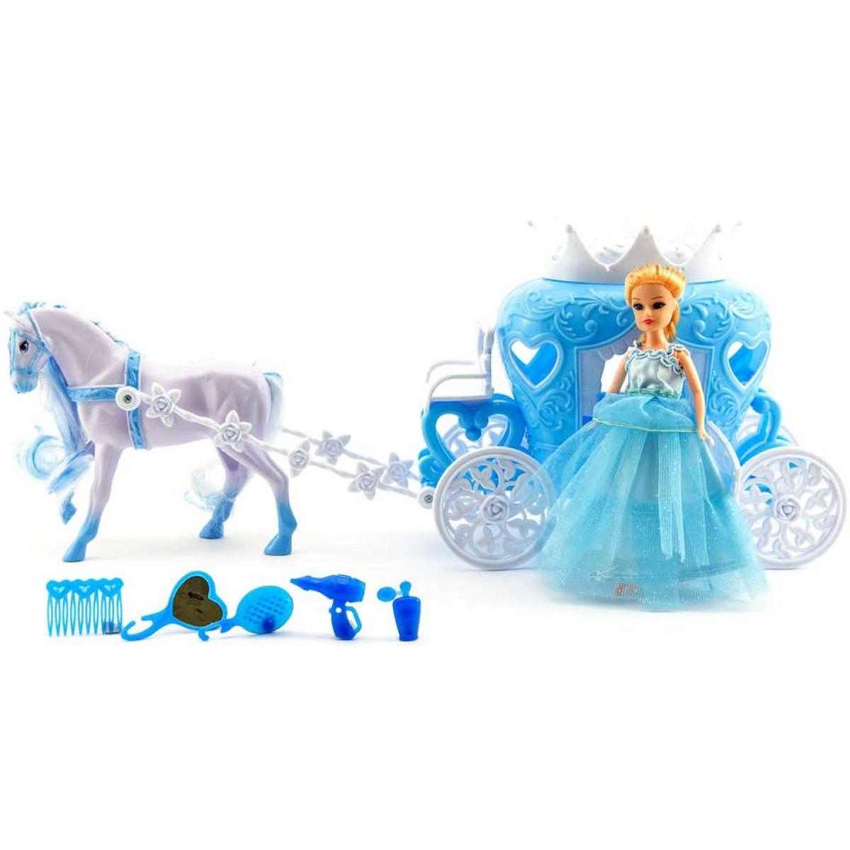 Teddies T00541901 Kůň s kočárem + doplňky plast 40 cm