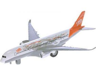 Letadlo dopravní 19 cm na natažení se zvukem a světlem - Oranžová