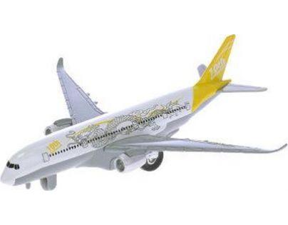 Letadlo dopravní 19 cm na natažení se zvukem a světlem - Žlutá