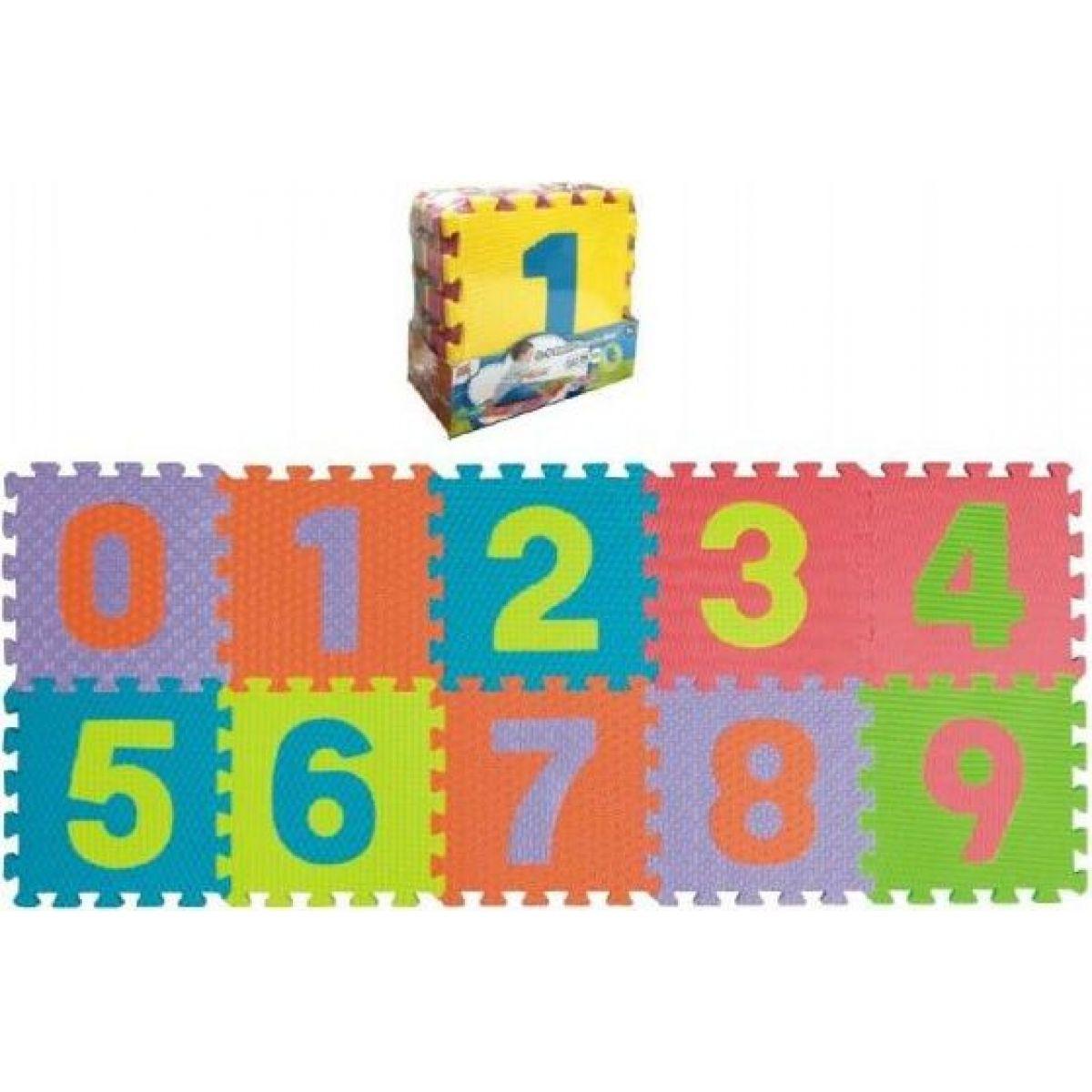 Teddies Pěnové puzzle číslice 0-9 podložka 25x25x1cm 10 ks
