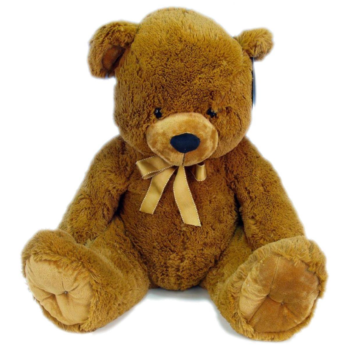 Medvěd plyš sedící s mašlí 65cm