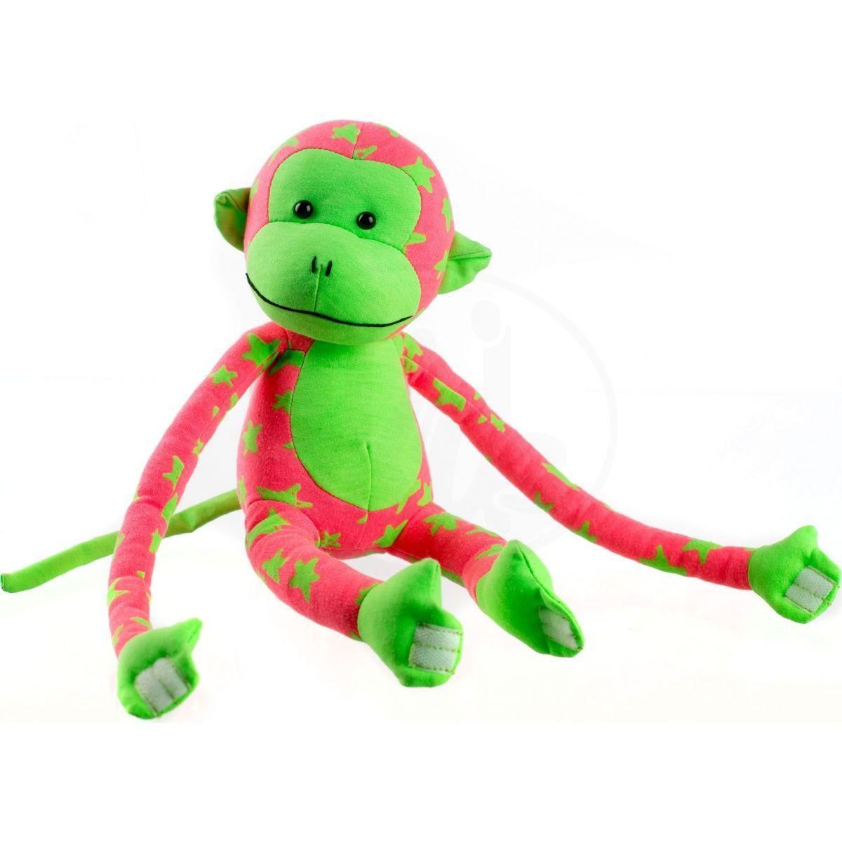 Plyšová opice svítící ve tmě růžovozelená
