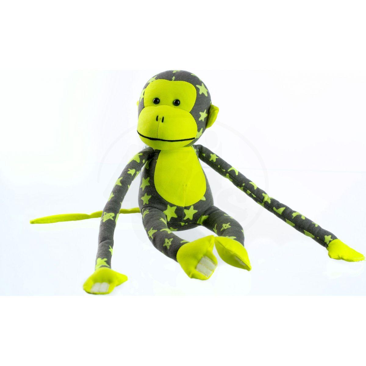 Plyšová opice svítící ve tmě šedožlutá