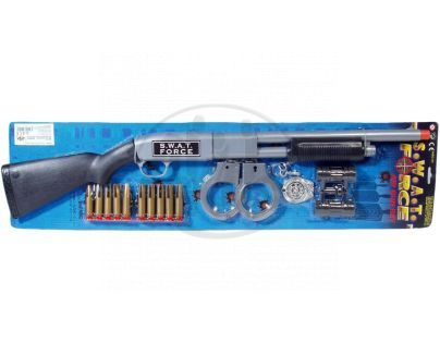 Teddies GG1433-1115 - Policie - sada, pistole 68cm + doplňky plast na kartě