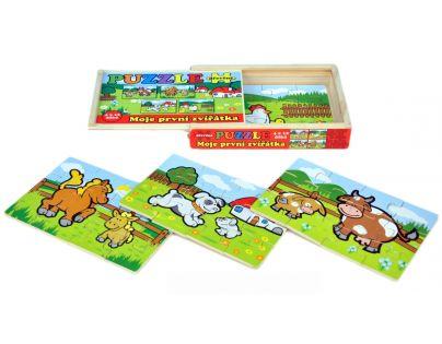 Puzzle dřevěné Moje první zvířátka 4 x 12 dílků