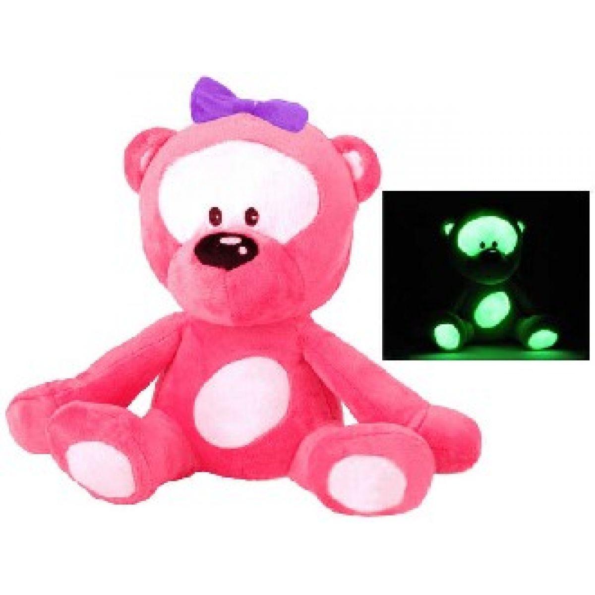 Teddies Svítící plyšový Medvídek 30 cm - růžový