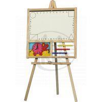 Teddies 71003 - Tabule školní i pro psaní na fólii s počítadlem a hodinami dřevo 88x44cm v sáčku