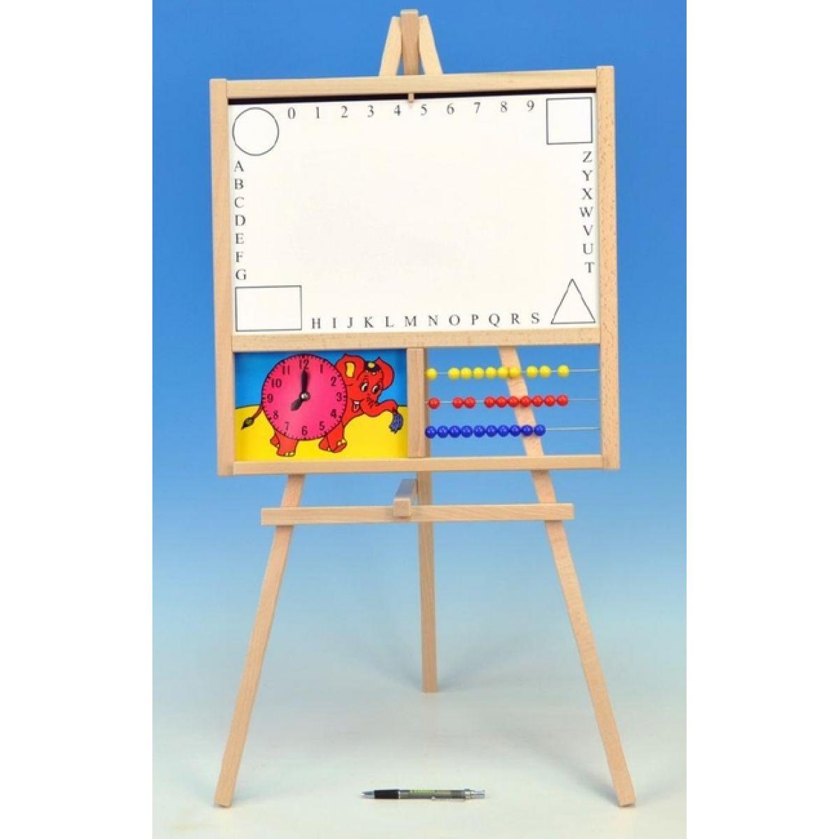 Teddies 71005 - Tabule školní magnetická i pro psaní na fólii s počítadlem a hodinami dřevo 88x44cm