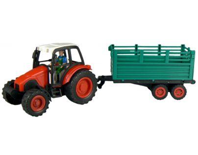 Traktor s vlečkou na setrvačník - Červená