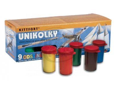 Teddies 001 unikolky 9+1 - Unikolky modelářské barvy sada 9 barev + matný lak zdarma