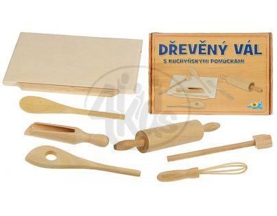 MIKRO 96517 - Vál dřevěný s válečkem + kuchyňské pomůcky