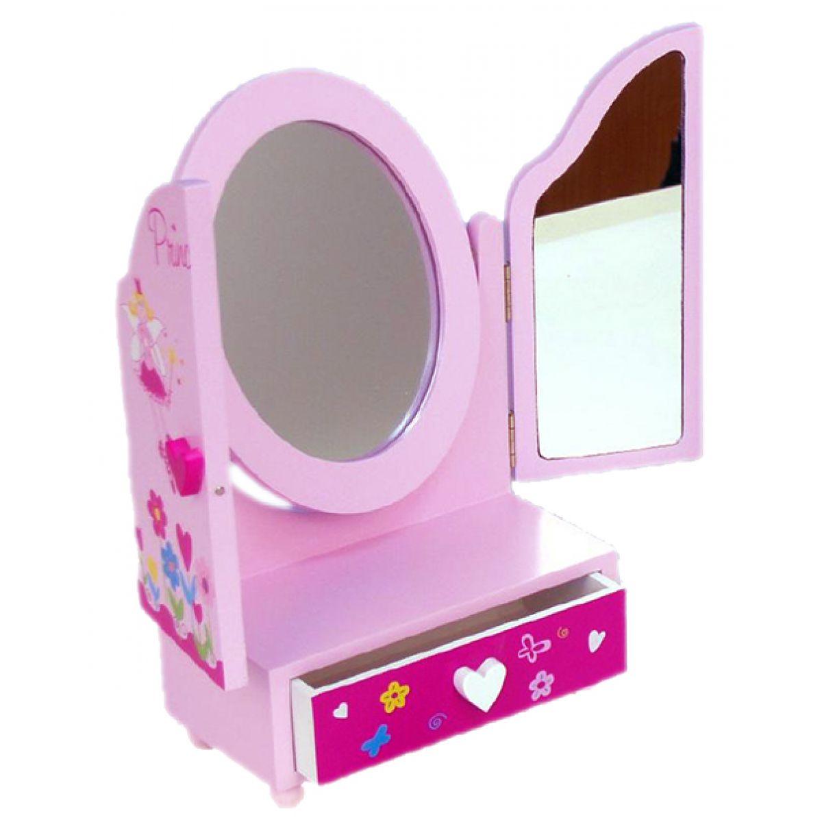 Zrcadlo šperkovnice Princess 3 dílné zásuvka dřevo