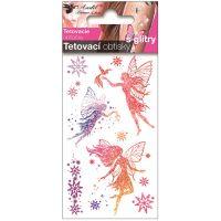 Anděl Tetovací obtisky s glitry 10,5 x 6 cm Tři víly
