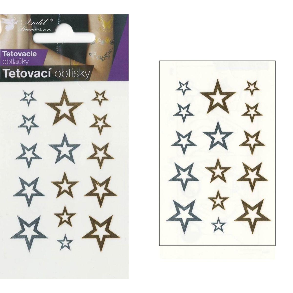 Anděl Tetovací obtisky zlaté a stříbrné 10,5 x 6 cm Hvězdy