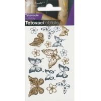 Anděl Tetovací obtisky zlaté a stříbrné 10,5 x 6 cm Motýli